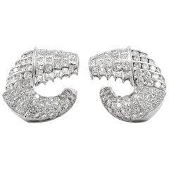 Flat Hoop 18 Karat Round Daimonds Earrings