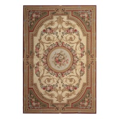 Flat-Weave Aubusson Rug Magnificent Handmade Cream Rug, Floral Patterned Carpet
