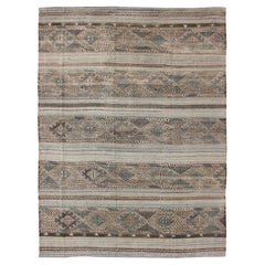 Flat-Weave Embroideries Kilim in Taupe, Green, Teal, Blue and Brown