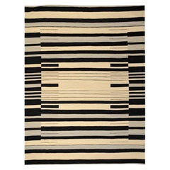 Flat-Weave Kilim, Modern Design with Black, Gray Lines over Beige Background