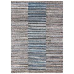 Flat-Weave Kilim Rug with Classic Stripe Design in Blue, Cream, Brown