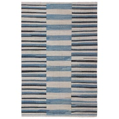 Flat-Weave Kilim Rug with Classic Stripe Design in Blue, Ivory, Charcoal
