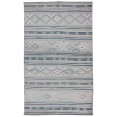 Flat-Weave Kilim with Embroideries in Taupe, Green, Blue and Gray
