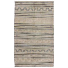 Flat-Weave Kilim with Embroideries in Taupe, Green, Blue and Sand