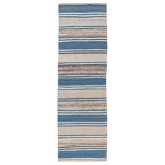Flat-Weave Modern Kilim Rug with Stripes in Shades of Blue and Cream