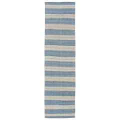 Flat-Weave Modern Kilim Rug with Stripes in Shades of Blue and Ivory