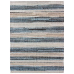 Flat-Weave Modern Kilim Rug with Stripes in Shades of Blue, Charcoal and Ivory
