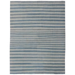 Flat-Weave Modern Kilim Rug with Stripes in Shades of Blue, Taupe Gray and Ivory
