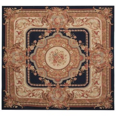 Flat-Weave Needlepoint Carpet Rug French Style Aubusson Rugs in Square Rug Shape