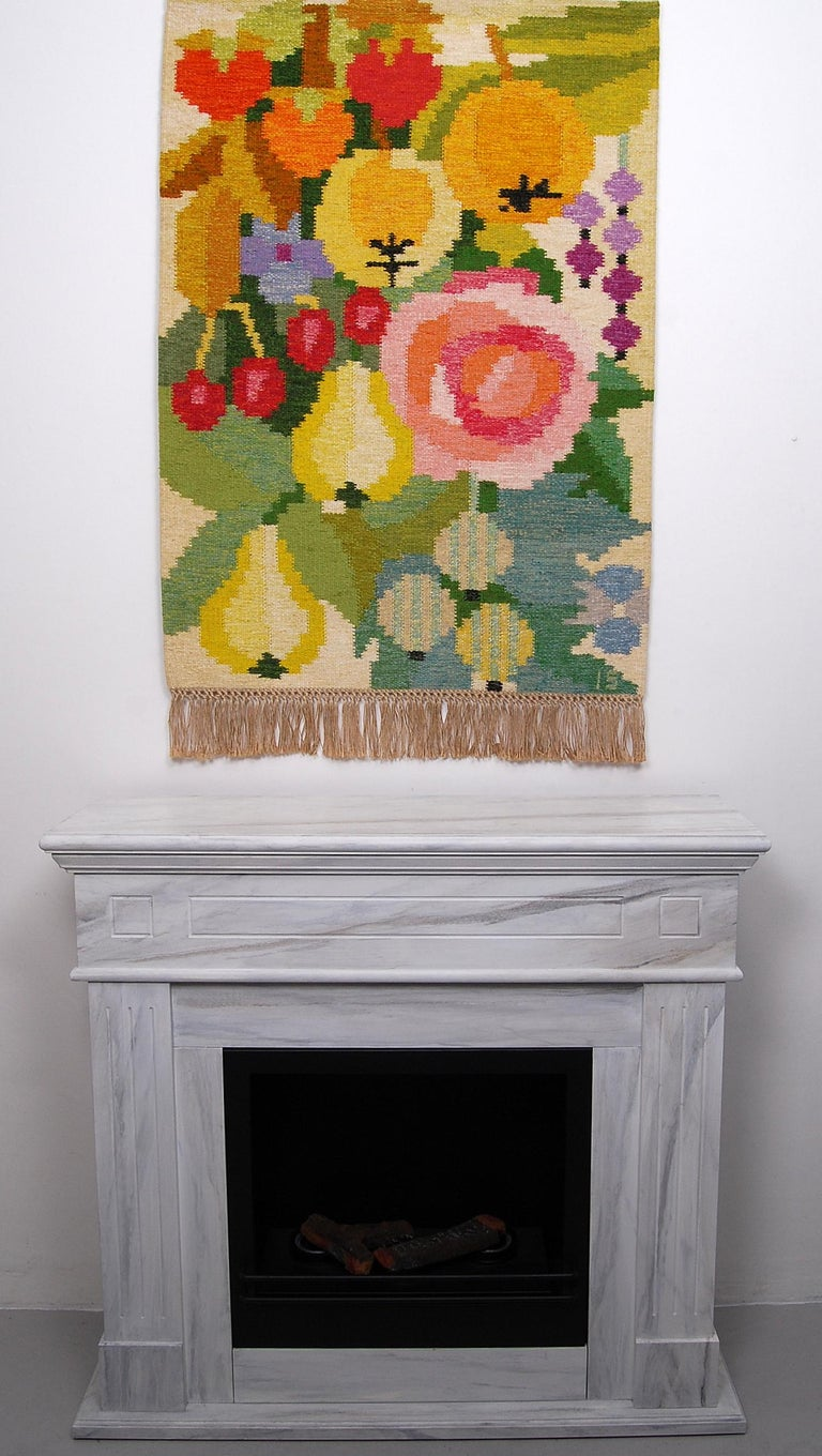 """Handwoven kelim / rölakan wall tapestry """"Fruktträdgården"""" = Fruit garden by Ingegerd Silow. Signed IS in the right hand corner. Great bright original colours and fringe all in perfect condition."""