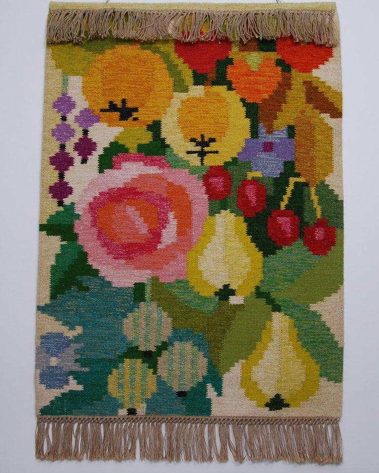Hand-Woven Flat-Weave Rölakan Tapestry by Ingegerd Silow, Sweden For Sale