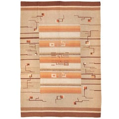 Flat Woven Room Size Vintage Swedish Kilim Carpet. Size: 7 ft x 10 ft