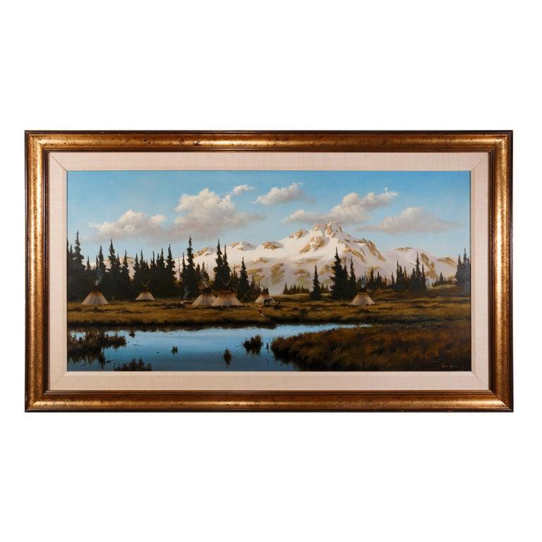 """""""Flathead Camp below Glacier Peak"""" Original Painting by Heinie Hartwig"""