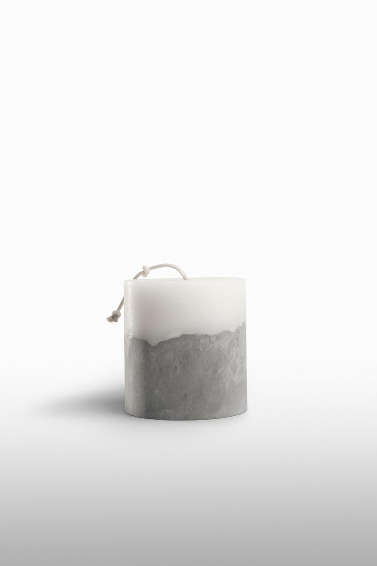 Not just a candle, but a piece of furniture with a strong material meaning. Flato, designed by Emanuel Gargano, is a handcrafted collection, made in marble and wax, wholly made in Italy. Each candle is different from one another in materials and