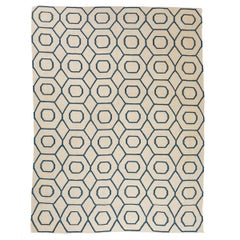 Flat-Weave Rug with Green Geometric Design over Beige Background