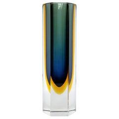 Flavio Poli Blue or Amber Sommerso Hexagon Glass Block Vase