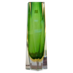 Flavio Poli by Mandruzzato Green Hand-Crafted Murano Glass Vase, Italy, 1960