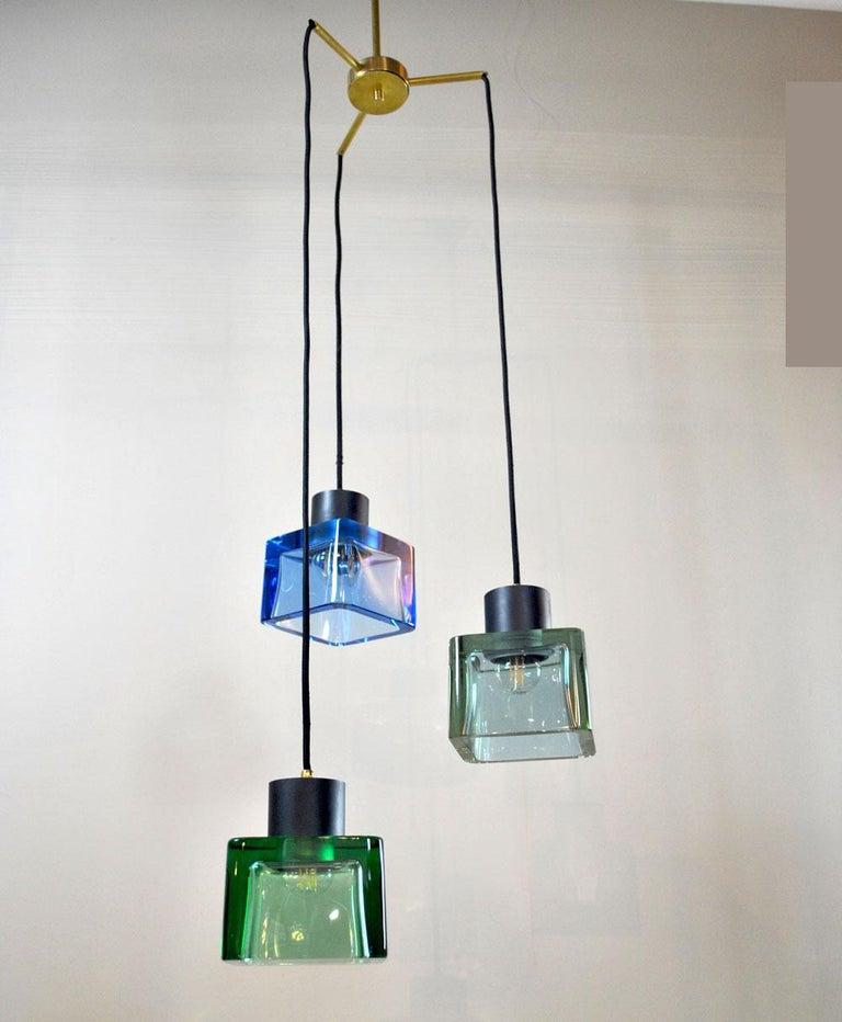 Flavio Poli for Seguso a 1960s Suspension of Three Murano Elements For Sale 4