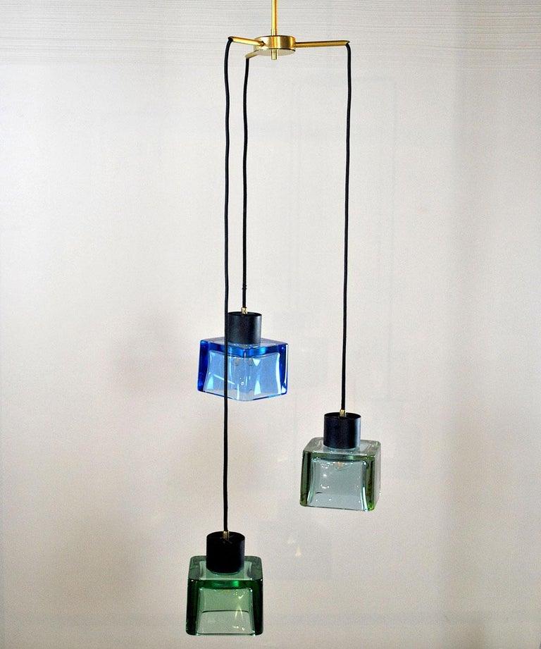 Flavio Poli for Seguso a 1960s Suspension of Three Murano Elements For Sale 7