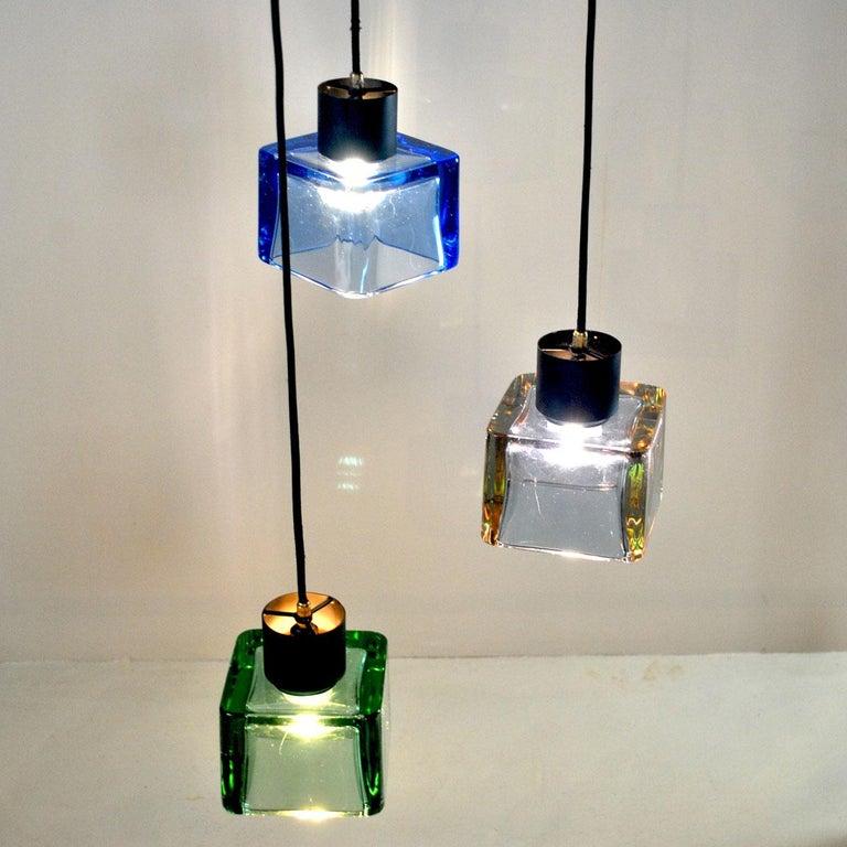 Italian Flavio Poli for Seguso a 1960s Suspension of Three Murano Elements For Sale