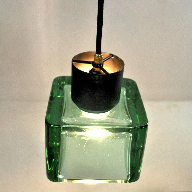 Brass Flavio Poli for Seguso a 1960s Suspension of Three Murano Elements For Sale