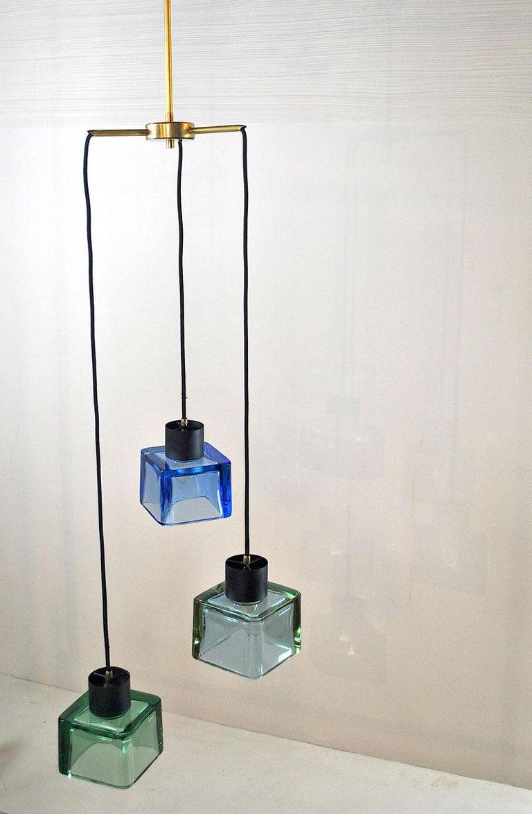 Flavio Poli for Seguso a 1960s Suspension of Three Murano Elements For Sale 6
