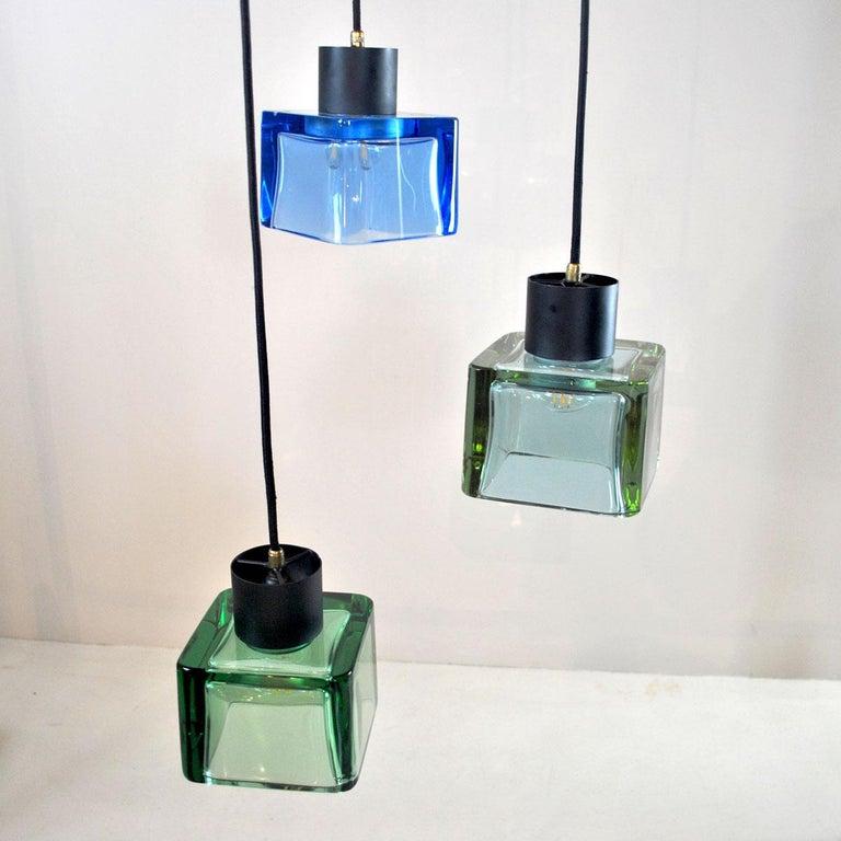 Flavio Poli for Seguso a 1960s Suspension of Three Murano Elements For Sale 8