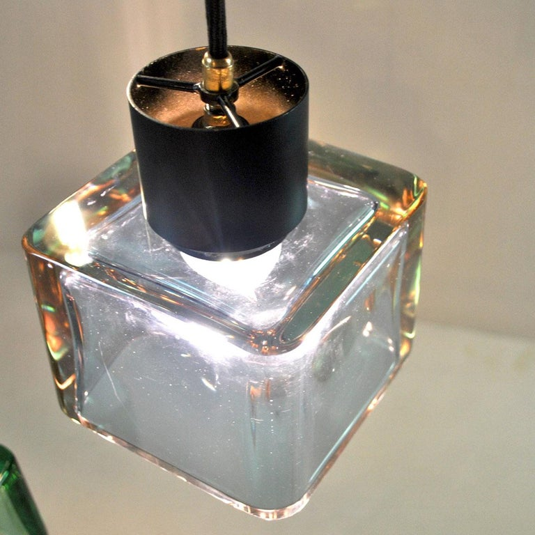 Mid-20th Century Flavio Poli for Seguso a 1960s Suspension of Three Murano Elements For Sale