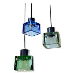 Flavio Poli for Seguso a 1960s Suspension of Three Murano Elements