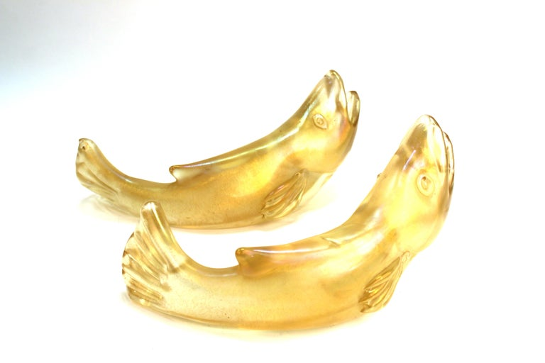 Flavio Poli for Seguso Italian Murano Bullicante Glass Fish For Sale 1