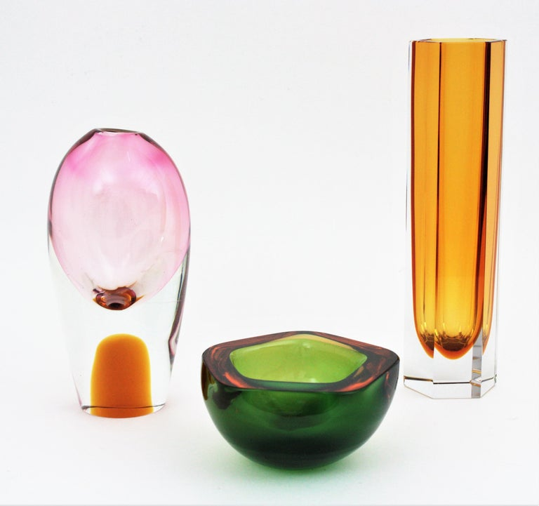 Flavio Poli for Seguso Murano Sommerso Pink, Clear & Amber Art Glas Ovoid Vase For Sale 4
