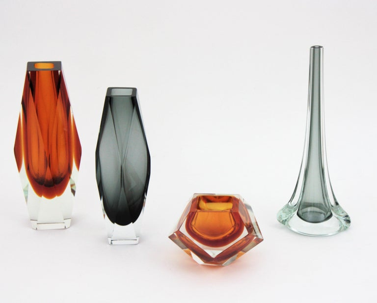 Flavio Poli for Seguso Murano Sommerso Smoked Grey and Clear Art Glass Vase For Sale 9