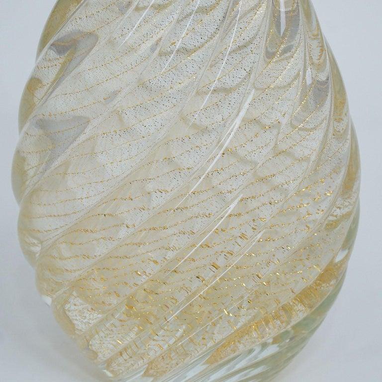Mid-Century Modern Flavio Poli for Seguso Vetri d'Arte Vase Incrociato Oro, 1949 For Sale