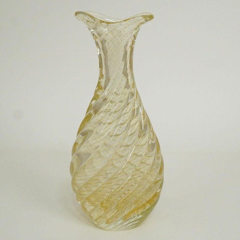 20th Century Flavio Poli for Seguso Vetri d'Arte Vase Incrociato Oro, 1949 For Sale