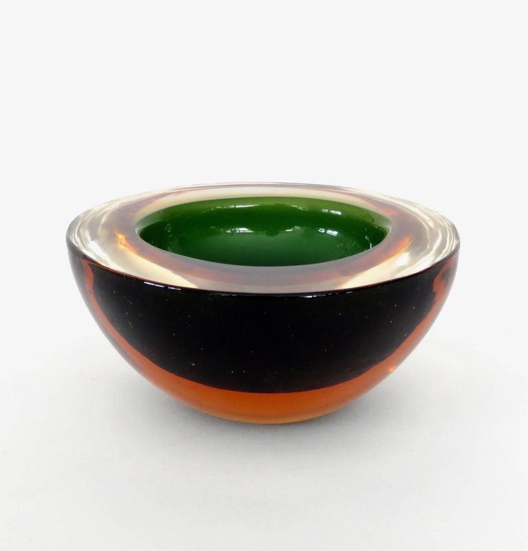 Flavio Poli Italian Sommerso Murano Glass Bowl For Sale 2