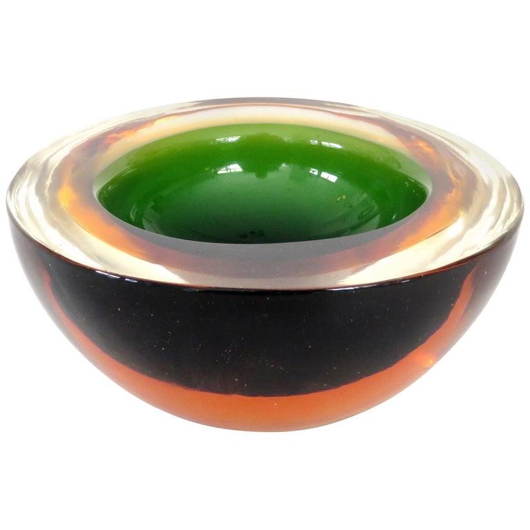 Flavio Poli Italian Sommerso Murano Glass Bowl For Sale