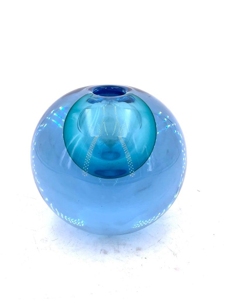 Flavio Poli Italian Sommerso Murano Glass Vase In Excellent Condition For Sale In San Diego, CA