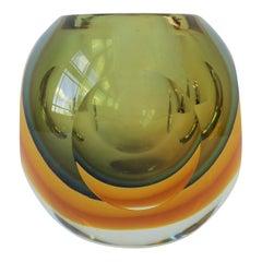Flavio Poli Modern Italian Murano Sommerso Art Glass Vase for Seguso Vetri D'Art