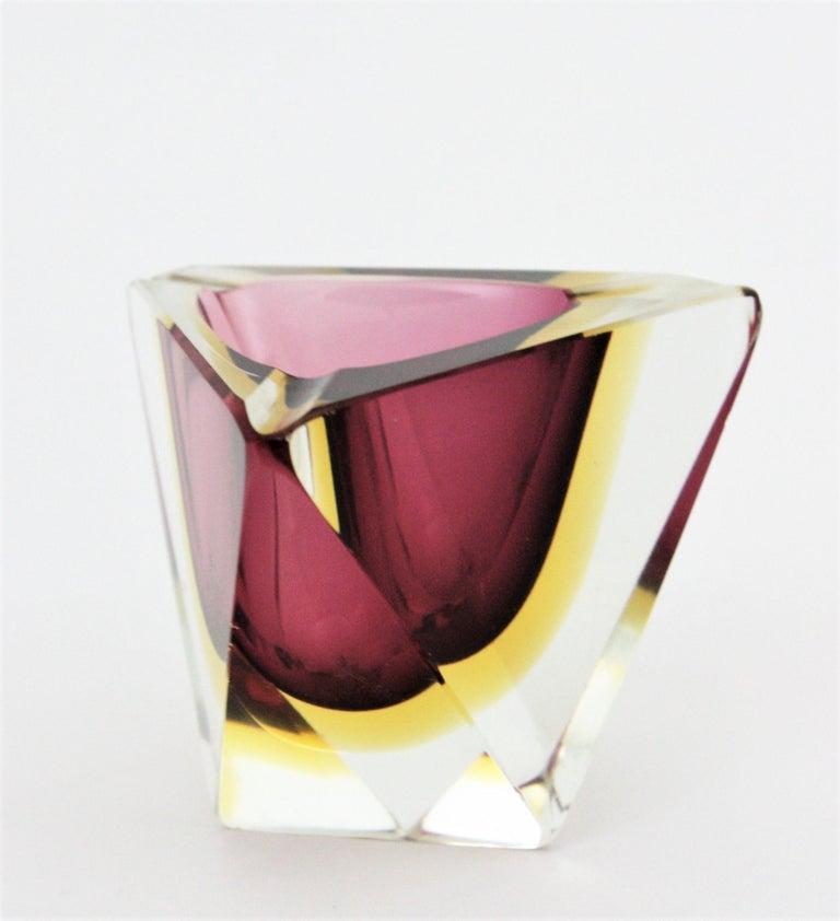 Flavio Poli Murano Faceted Sommerso Purple Yellow Glass Triangular Ashtray /Bowl For Sale 4
