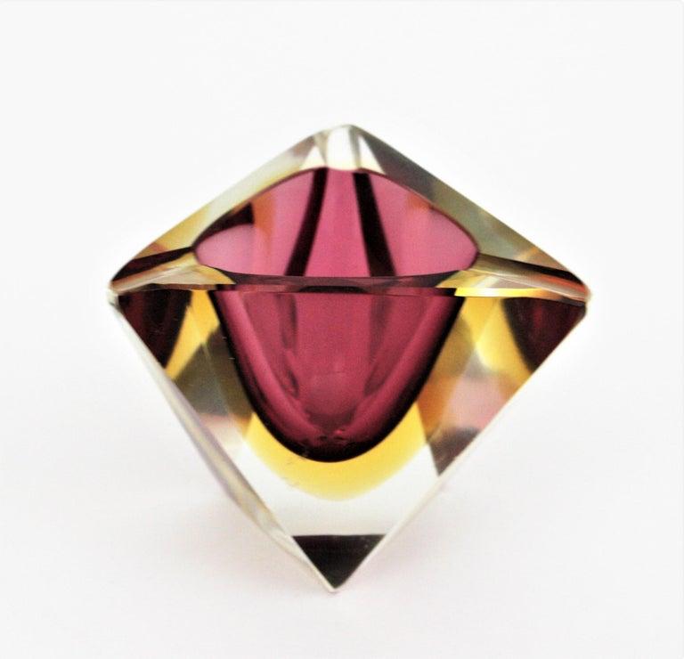 Italian Flavio Poli Murano Faceted Sommerso Purple Yellow Glass Triangular Ashtray /Bowl For Sale