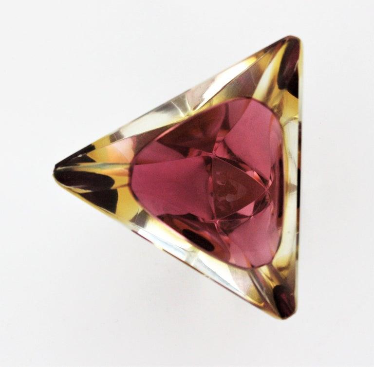 Flavio Poli Murano Faceted Sommerso Purple Yellow Glass Triangular Ashtray /Bowl For Sale 1