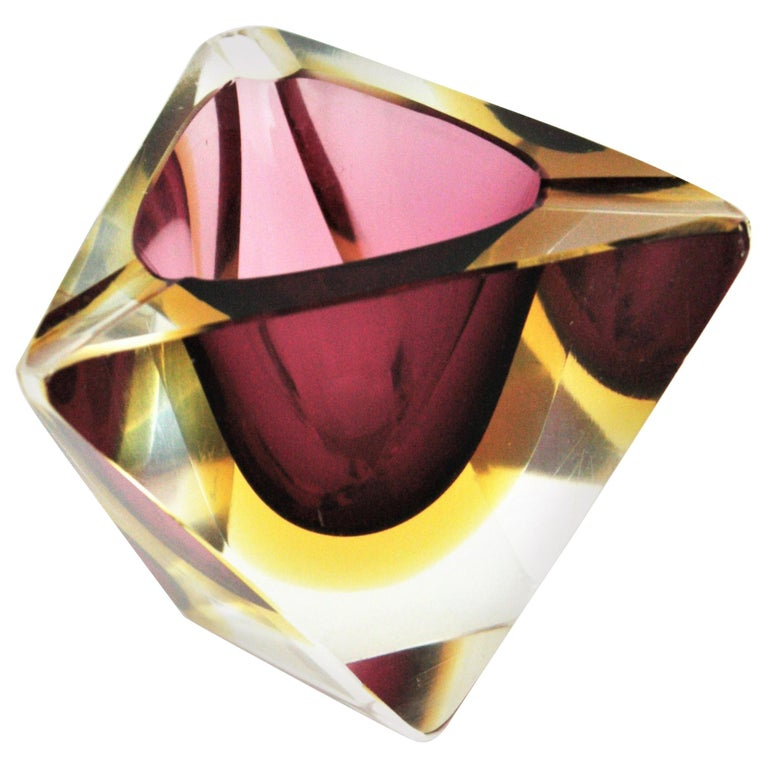 Flavio Poli Murano Faceted Sommerso Purple Yellow Glass Triangular Ashtray /Bowl For Sale
