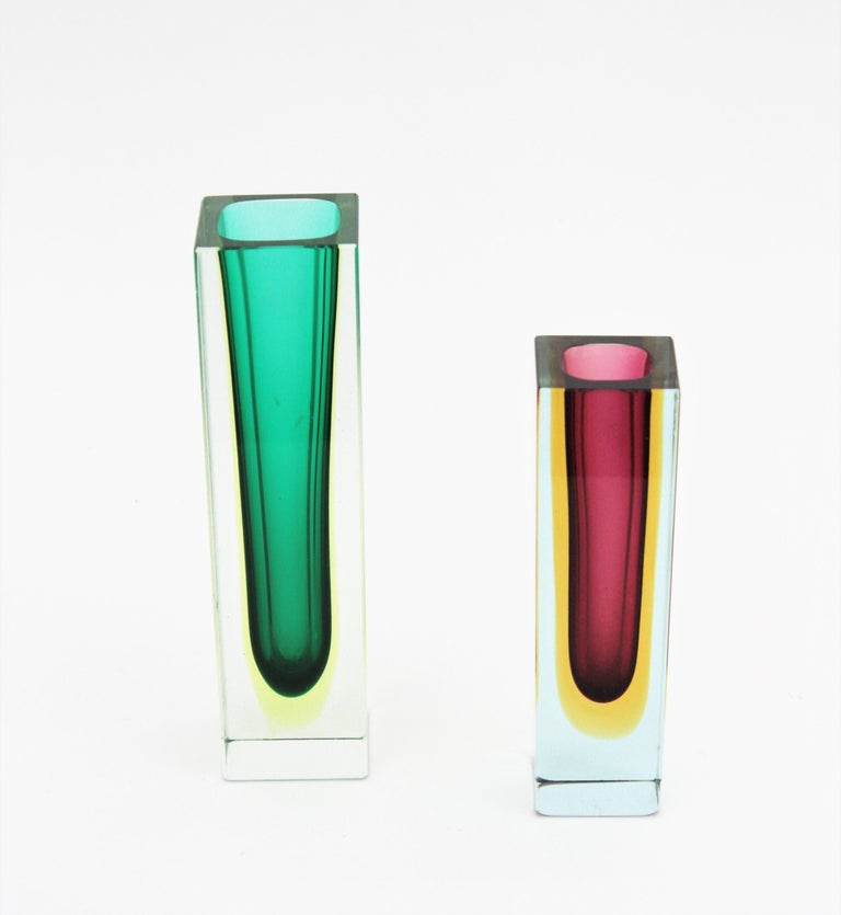 Flavio Poli Murano Faceted Sommerso Green Yellow and Clear Glass Vase For Sale 4