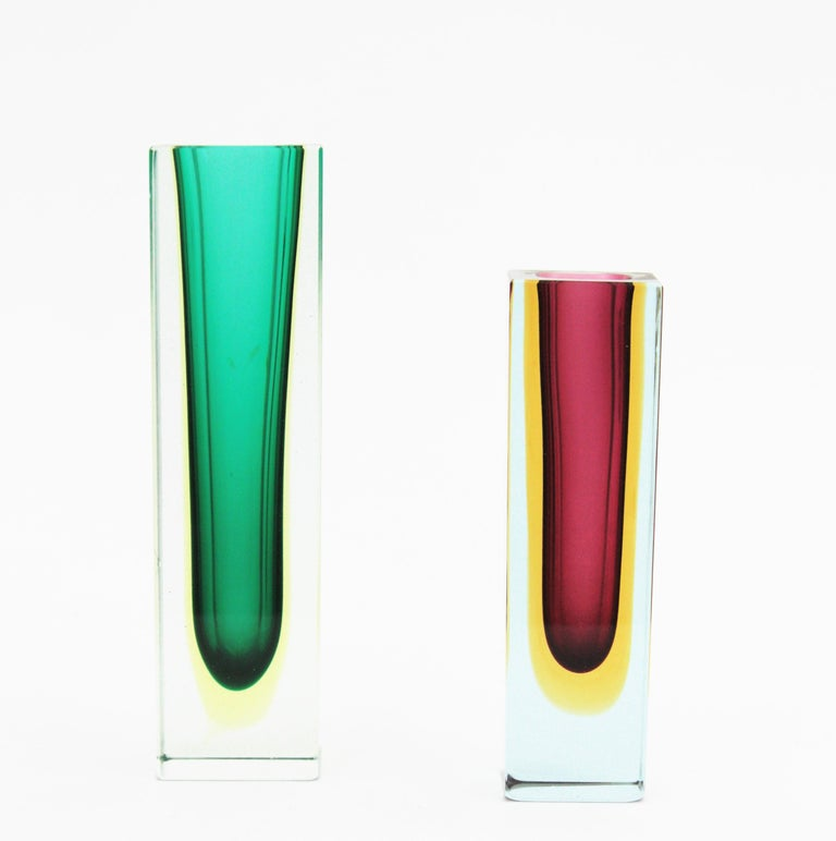 Italian Flavio Poli Murano Faceted Sommerso Green Yellow and Clear Glass Vase For Sale