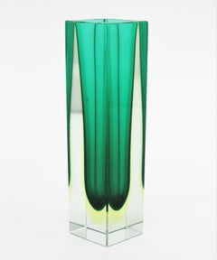 Flavio Poli Murano Faceted Sommerso Green Yellow and Clear Glass Vase