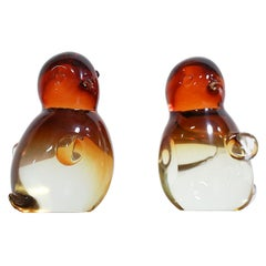 Flavio Poli Murano Glass Bird Sculptures Bookends for Segugo
