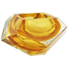 Flavio Poli Murano Orange Yellow Sommerso Faceted Art Glass Bowl