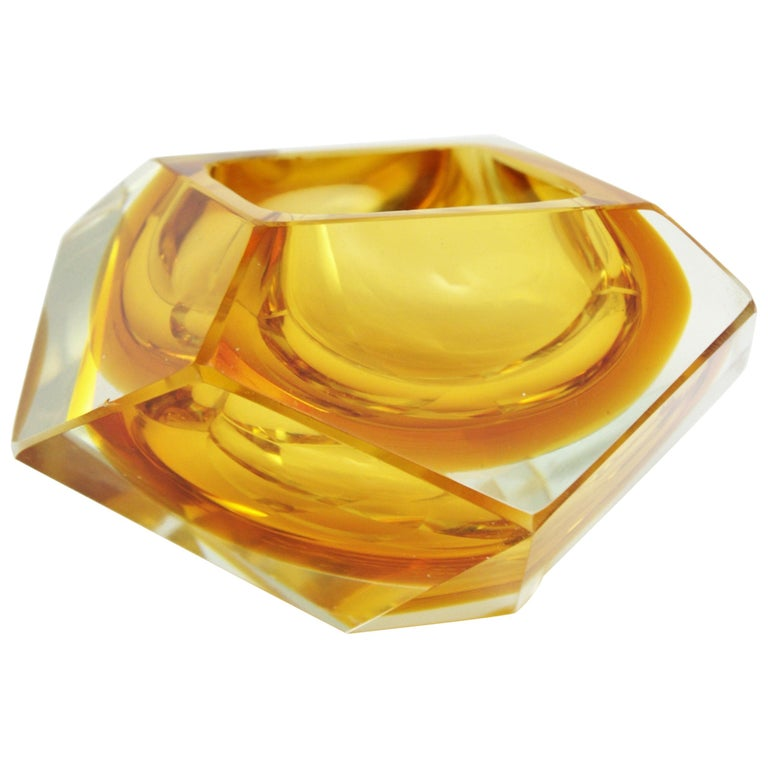 Flavio Poli Murano Orange Yellow Sommerso Faceted Art Glass Bowl For Sale