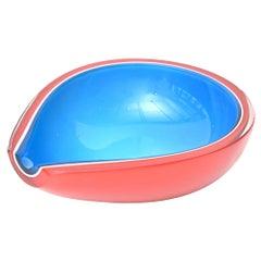 Flavio Poli Murano Red, Sapphire Blue and White Tear Drop Glass Bowl Vintage