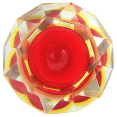 Flavio Poli Murano Red, Yellow and Clear Faceted Glass Diamond Bowl or Ashtray